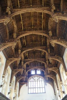 ornate ceiling of the Great Hall at Hampton Court Palace