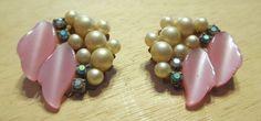 Costume Jewelry Retro Faux Pearl Rhinestone Earrings Chunky Vintage   f