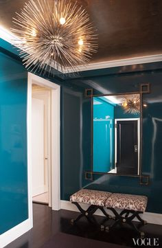 Lily Bunn Weekes Entry Foyer | High Gloss Peacock Blue Walls and a jean de Mury Sea Urchin Chandelier || Mirror