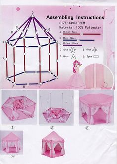 Large Indoor and Outdoor Kids Play House Pink Hexagon Prince.-Large Indoor and Outdoor Kids Play House Pink Hexagon Princess Castle Tent Child - Indoor Playhouse, Build A Playhouse, Castle Playhouse, Garden Playhouse, Folding House, Pvc Pipe Projects, Kids Tents, Play Tents, Ideias Diy