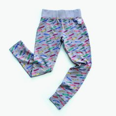 Grey Crayon Print Unisex Kids Leggings by Indikidual. Made with 100% Organic Cotton | LittlePeco.com