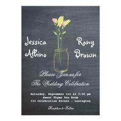 Calkboard Mason Jar Wedding Invitation