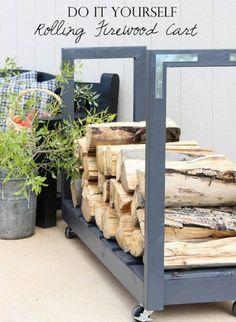 How To Build A Rolling Firewood Cart | http://homestead-and-survival.com/build-rolling-firewood-cart/ | A rolling firewood cart is a treat when you start toting wood to make fires in the fireplace to keep your house warm.