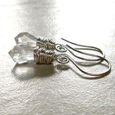 Earrings Clear Crystal Drop Sterling Silver Swirl by adorned7, $22.00