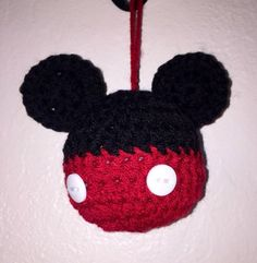 Set of 2 crochet made to order mickey and minnie mouse inspired ball ornaments 1 mickey 1 minnie Minnie Mouse Images, Mickey Y Minnie, Ball Ornaments, Christmas Ornaments, Photo Prop, Daycare Crafts, Crochet Purses, Homemade Christmas, Softies