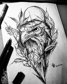 Eagle tattoo on sketch (on paper) by Darya Morgan – Tattoo Sketches & Tattoo Drawings Cool Tattoo Drawings, Sketch Style Tattoos, Tattoo Sketches, Design Tattoo, Best Tattoo Designs, Tattoo Designs For Women, Gorgeous Tattoos, Unique Tattoos, Tatoo Bird