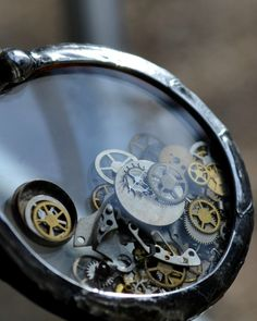 Steampunk Watch Parts Shaker Necklace Antique by BayouGlassArts