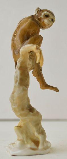 Antique Hutschenreuther Porcelain Monkey in a Tree Figurine HR Germany Achtziger | eBay