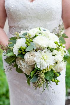 Classic meets rustic with this beautiful green and white bouquet #Breckenridge #Florist #Flowers #Wedding  Florals by Petal & Bean Breckenridge, CO