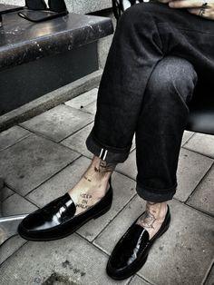 saint laurent paris loafers + tattoos