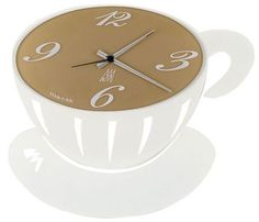 'CHOCA CUPPA' ARTI & MESTIERI CLOCK.  A fun and funky designer wall clock set in a hot cup of tea/coffee design. Set with a laser-cut matte white metal with an elegant frosted brown glass face.