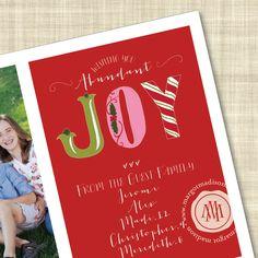 """Abundant Joy Flat Holiday Card with custom message, via Etsy."""
