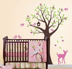 Tree with Birds and Fawn Decal Set - Kid's Nursery Room Wall Sticker. $84.00, via Etsy.