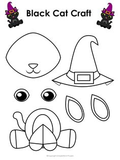 Printable Halloween Black Cat Craft with FREE Template - Simple Mom Project - - This easy, diy Halloween craft is perfect for kids of all ages, click now to print the free cat template and turn regular paper into a Halloween decoration! Halloween Cat Crafts, Diy Halloween Decorations, Fall Crafts, Decor Crafts, Diy Crafts, Invitation Halloween, Cat Template, Printable Crafts, Halloween Printable