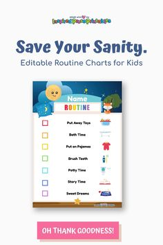 Use these daily routine chart templates to create a kids routine chart at home. Edit, print and post these colorful morning and bedtime routine printables. #dailyroutinechart #kidsroutinechart #routineprintables #bedtimeroutinechart #inspiredproseprintables