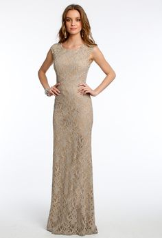 Glitter Lace Illusion Cap Sleeve Dress from Camille La Vie