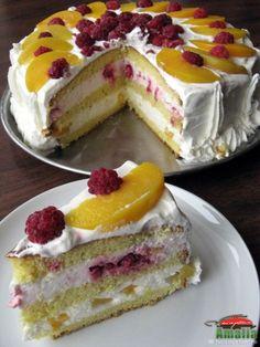 Tort cu zmeura si piersici (tortzm6)   imagine reteta Romanian Food, Dessert Bread, Custard, Cookie Recipes, Cheesecake, Deserts, Food And Drink, Ice Cream, Cookies