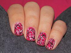 Pink, White and Black Graffiti Nail Art