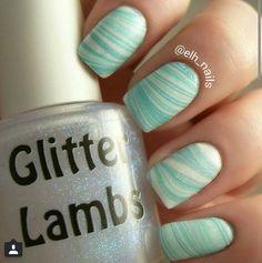 IG: @elh_nails Polishes used #essie Garden Variety, Essie Fiji and #glitterlambs Sun Dazzler Glaze #polish #nailpolish #glitter #sparkles #mani #manicure #nailart #watermarble