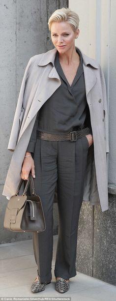 Princess Charlene of Monaco poses before the Giorgio Armani Spring/Summer 2018 show at the Milan Fashion Week in Milan, Italy, September REUTERS/Alessandro Garofalo Estilo Fashion, Grey Fashion, Royal Fashion, Fürstin Charlene, Princesa Charlene, Grace Kelly, Kelly Monaco, Style Royal, My Style