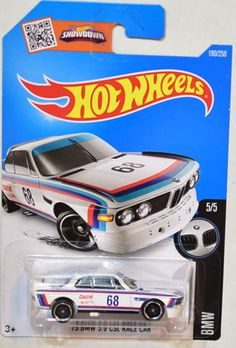 HOT WHEELS 2016 BMW '73 3.0 CSL RACE CAR 5/5 - WHITE (C Case)
