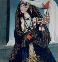 Woman with a Veil, Qajar painting.
