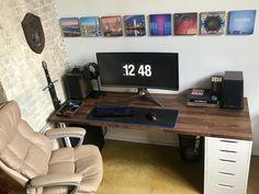 Top 30 Stunning Home Office Design Computer Desk Design, Computer Desk Setup, Gaming Room Setup, Pc Desk, Pc Setup, Home Office Furniture Sets, Home Office Setup, Home Office Organization, Home Office Design