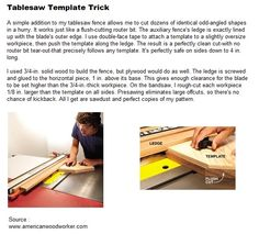 Tablesaw Template Trick