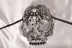 Luxury Filigree Metal Venetian Masquerade Masks - A Scary Skull Mask
