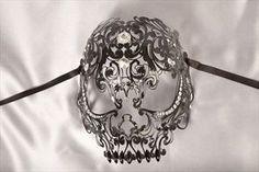 Luxury Filigree Metal Venetian Masquerade Masks - A Scary Skull Mask