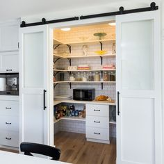 not sure if there will be enough room for this kind of door but could be cool for pantry