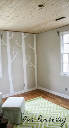 Welcome to the Hundred Acre Wood. . . DIY Birch Tree Mural, Baby Boy Nursery, Woodland Theme Nursery