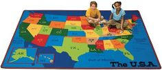 "Geography Travelin' the USA Kids Rug Size: 3'10"" x 5'5"" by Carpets for Kids. $139.95. Made in the USA. Colors and patterns are designed to be fun for children. Treated with ""Carpet Guard"" which provides soil and stain protection in the classroom.. Meets NFPA 253, Class I fire code requirements. The Anti-Microbial treatment minimizes product deterioration and odors. 3413 Size: 3'10"" x 5'5"" Features: -Lifetime Anti-Microbial Protection.-Double-stitched serged edges.-Ca..."