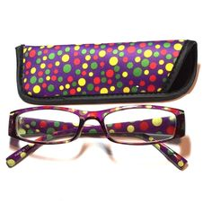 1.00 reading glasses polkadot with case 1.00 reading glasses polkadot pattern with case Accessories Glasses