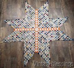 "ANTIQUE c1880 Star QUILT TOP 79x79"" Great Fabrics Tiny Pieces Handpieced www.Vintageblessings.com"