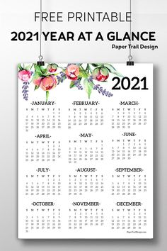 2021 one page Calendar with flower adornments. Use this 2021 year at a glance calendar at the front of your planner or notebook or displayed on the fridge. Classic Home Decor, French Home Decor, Gothic Home Decor, Retro Home Decor, Fall Home Decor, Indian Home Decor, At A Glance Calendar, Calendar Home, 2021 Calendar