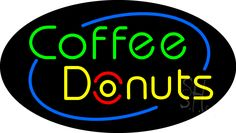 Deco Style Coffee Donuts Animated Neon Sign 17 Tall x 30 Wide x 3 Deep, is 100% Handcrafted with Real Glass Tube Neon Sign. !!! Made in USA !!!  Colors on the sign are Red, Green, Blue and Yellow. Deco Style Coffee Donuts Animated Neon Sign is high impact, eye catching, real glass tube neon sign. This characteristic glow can attract customers like nothing else, virtually burning your identity into the minds of potential and future customers.