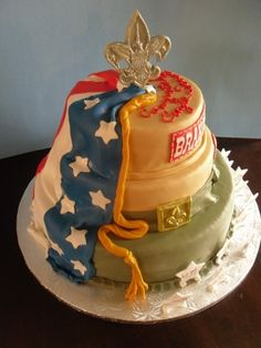 Eagle Scout Cake By kiana620 on CakeCentral.com- use the chocolate mold for the topper