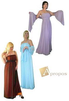 Abendkleid Chiffon Elegant Bodenlang Altrosa Blau Orange Apropos