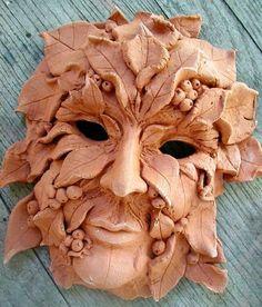 clay greenman mask wall sculpture