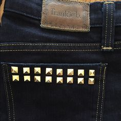 FRANKIE B STUDLET STARLET STRAIGHT LEG JEANS Size 26 waist gold studded back pockets dark denim wash. Gold stitching. Worn once, wrong size. Retail $200... Frankie B. Jeans Straight Leg