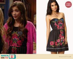 Riley's black floral dress on Girl Meets World.  Outfit Details: http://wornontv.net/35757/ #GirlMeetsWorld