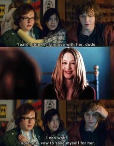 Evan and taissa (parmiga) he'll solemnly swear he'll wait for her. Ok. That's a pretty cute mash up.