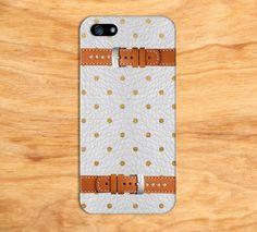 White Gold Brown Leather Polka Dot iPhone Case