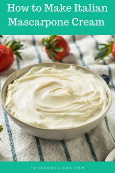The best recipe to make Italian Mascarpone Cream Mascarpone Cream Recipe, Cream Filling Recipe, Mascarpone Recipes, Mascarpone Cheese, Mascarpone Cake, Desert Recipes, Gourmet Recipes, Baking Recipes, Gourmet Foods