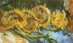 Four Faded Sunflowers: 1887 by Vincent van Gogh (Kroller Muller Museum, Netherlands) - Post-Impressionism