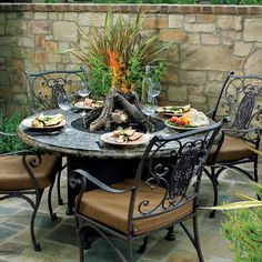 Palm Springs outdoor gas fire pit table from Agio. Granite Flower Oriflamme glass burning fire pit from All Backyard Fun. Avila Fire Pit Dining Table by O. Outdoor Fire Pit Table, Propane Fire Pit Table, Wood Fire Pit, Fire Table, Fire Pit Backyard, Outdoor Dining, Dining Table, Dining Set, Outdoor Spaces