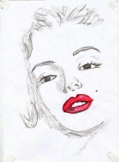 #MarilynMonroe Marilyn sketch dailylook art picture sketching lips blackandwhite red