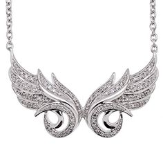 925 Sterling Silver Double Angel Feather White Diamond Pendant Necklace 15 Carat *** For more information, visit image link.Note:It is affiliate link to Amazon.