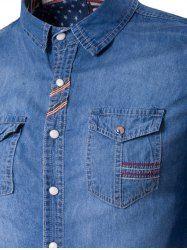 Suture Pockets Denim Long Sleeve Shirt - LIGHT BLUE L
